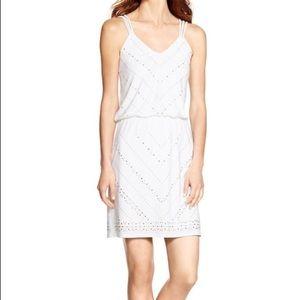 WHBM SLEEVELESS STUDDED BLOUSON WHITE SHORT DRESS
